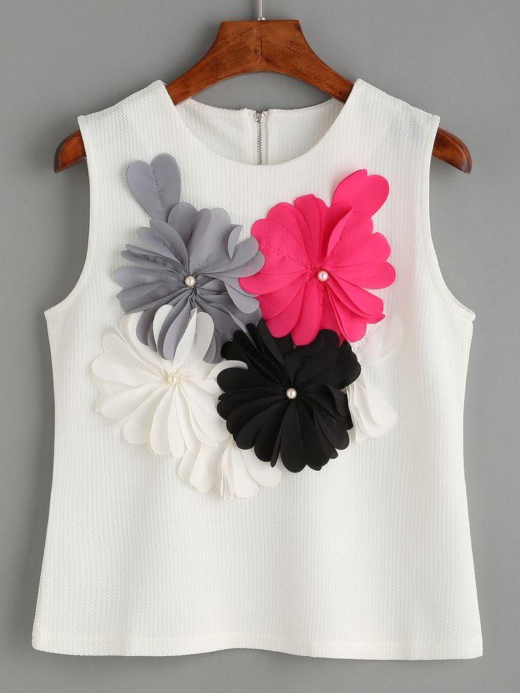 Top de textura sin mangas adornado de flores -blanco-Spanish SheIn(Sheinside)