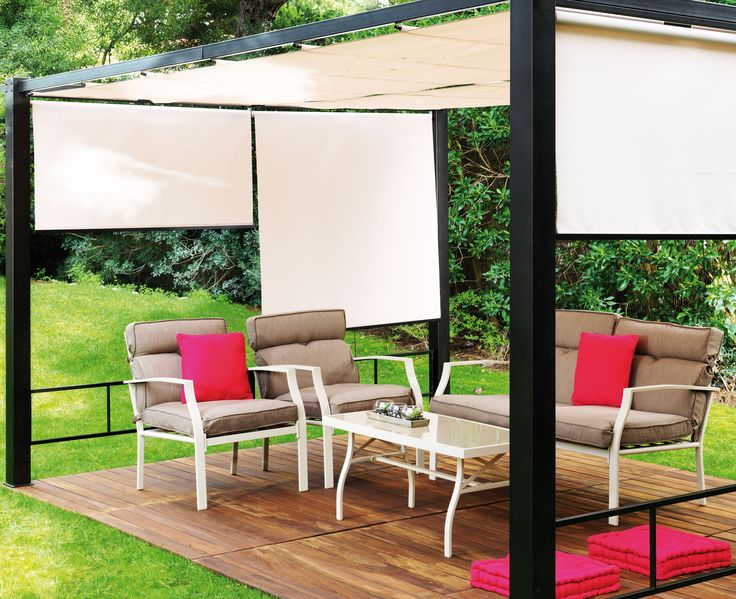 AKI+Bricolaje,+jardinería+y+decoración.+ Pérgola+jardín+ESTORES+3+x+4+m+ Moderna+y+robusta.