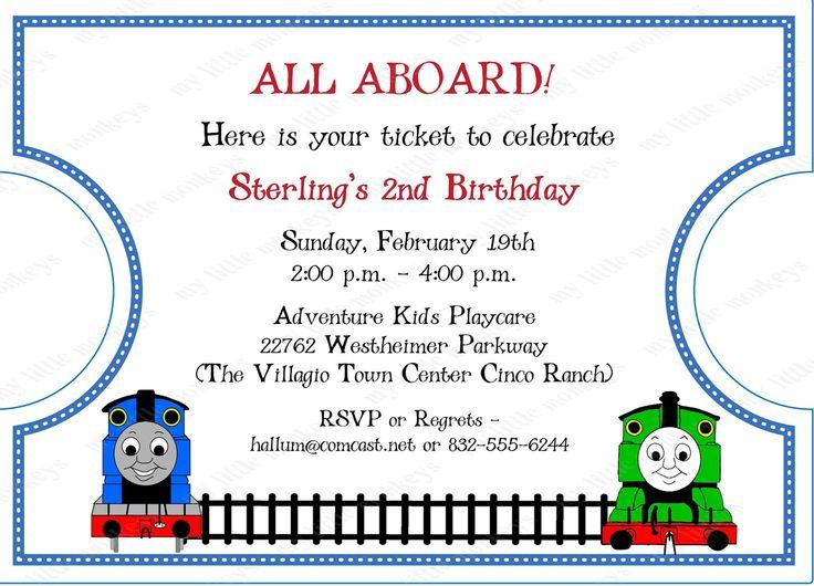 10 Die Cut Thomas Train Ticket Invitations With Envelopes Free