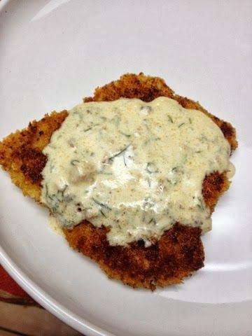 Eating Dinner With My Family: Pork Schnitzel with Dill Cream Sauce