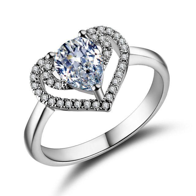 Обручальные кольца для женщин платиновым покрытием ювелирные изделия роскошные Серебряные Обручальные кольца Сердце bague ААА циркония Аксессуары bijoux
