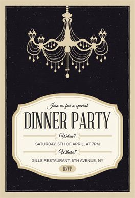 Classy Chandelier - Free Dinner Party Invitation Template | Greetings Island