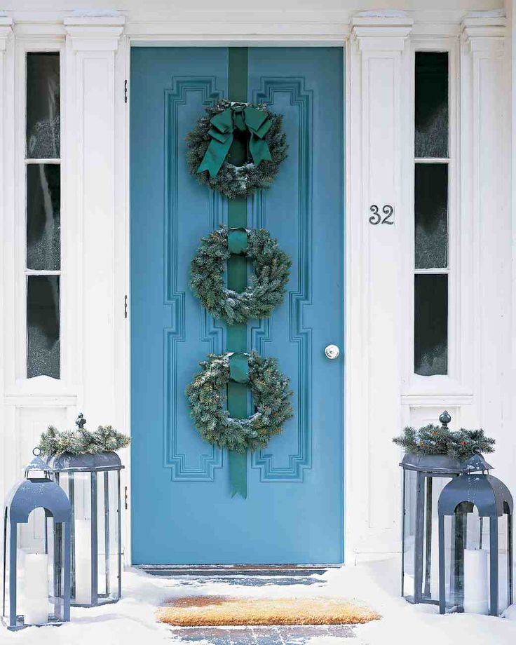 Blue Spruce Wreath Trio for this Stately Blue Front Door