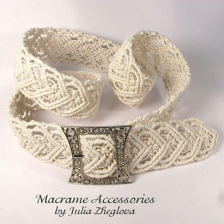 "Macrame belt ""Heart To Heart"", white women's lace braided belt. $93.00, via Etsy."