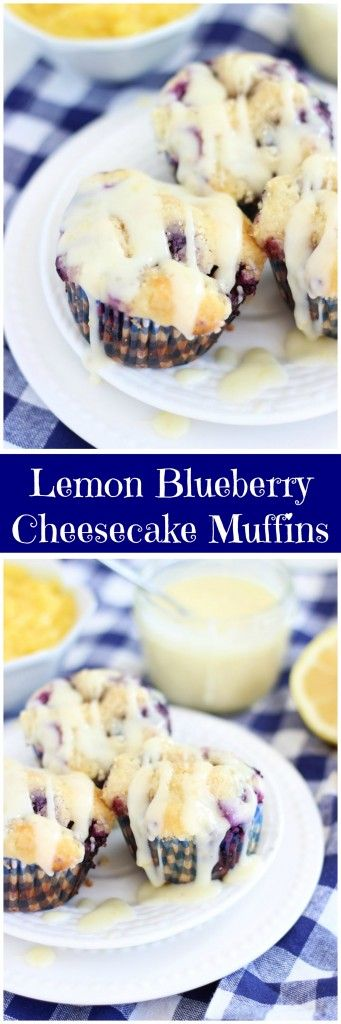 Lemon Blueberry Cheesecake Muffins with Lemon Glaze