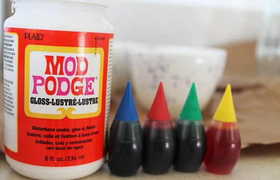 Acute How-To: DIY Glass-Tinting Mod Podge haven't tried this, but want to try for hanging light pendants