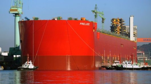 A hull longer than the Empire State Building is tall has been floated out of dry dock in Geoje, South Korea. Measuring 488 m (1,601 ft) long and 74 m (243 ft) wide, the hull belongs to Shell's Prelude FLNG facility, which upon completion will be the largest floating facility ever built.