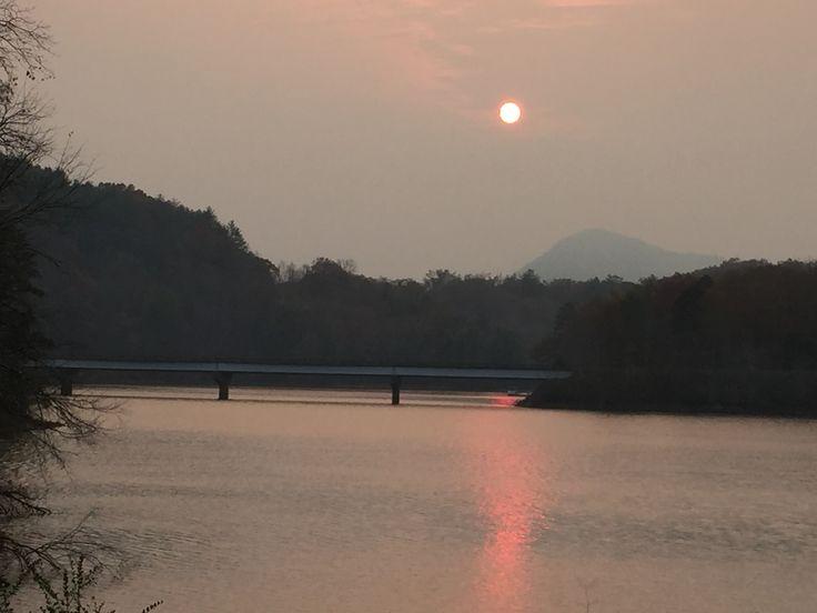 Ted Jordan bridge, sun blocked by smoke from forest fire, 2016