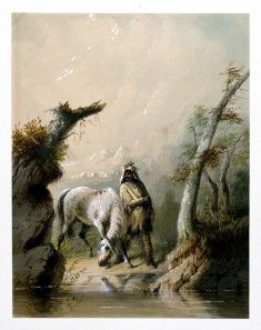 Auguste and His Horse Alfred Jacob Miller