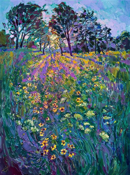 Northwest wildflowers landscape oil painting, painted by collectible up and coming artist Erin Hanson.