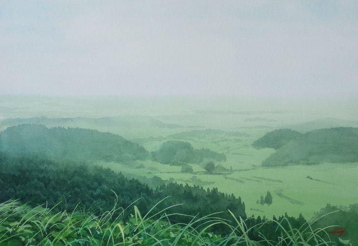 "Shinjuku Exhibition 2015 - Abe Toshiyuki ""Far wind"" watercolor on waterford 34 x 49 cm, 2015"