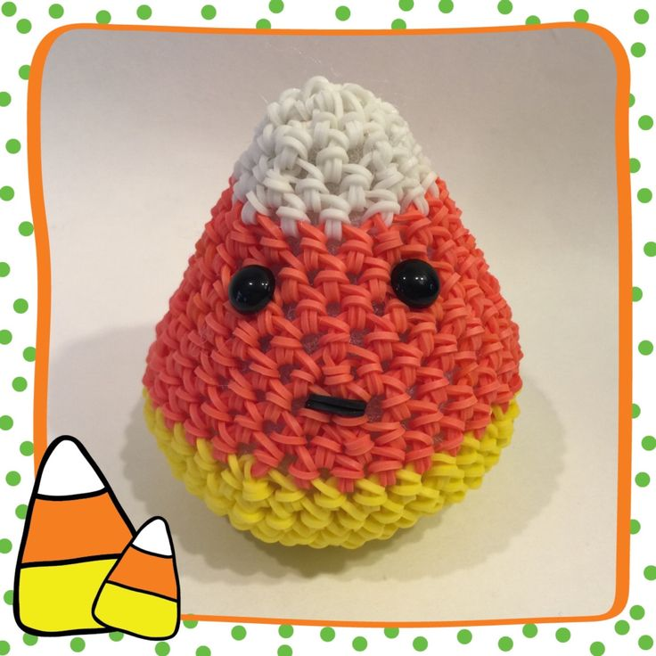 Candy Corn Rubber Band Figure, Rainbow Loom Loomigurumi, Rainbow Loom Animals by BBLNCreations on Etsy Loomigurumi Amigurumi Rainbow Loom