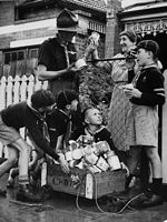 PH 13024. The Armadale scouts collecting for the Food for Britain appeal, 1947.
