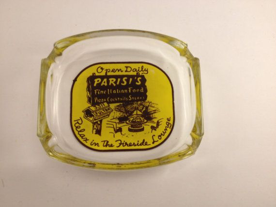 Great vintage glass ashtray from Parisis Fine Italian Food Restaurant in Sacramento, California.   Reads: Relax in the Fireside Lounge  3311