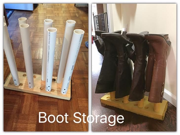 This was a prototype that my hubby and I came up with to store my boots.  It is not pretty but does the trick!  Made with things we already had around the works…