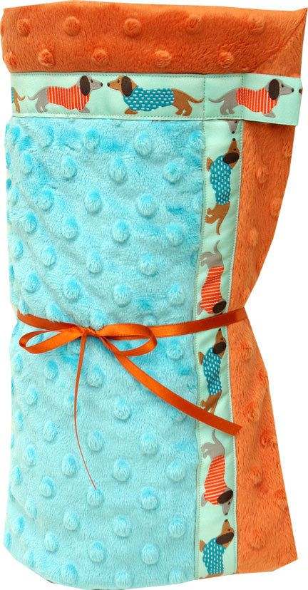Dachshund Cuddly  Baby Blanket with Minkee Minky by Lillamonsters, $50.00