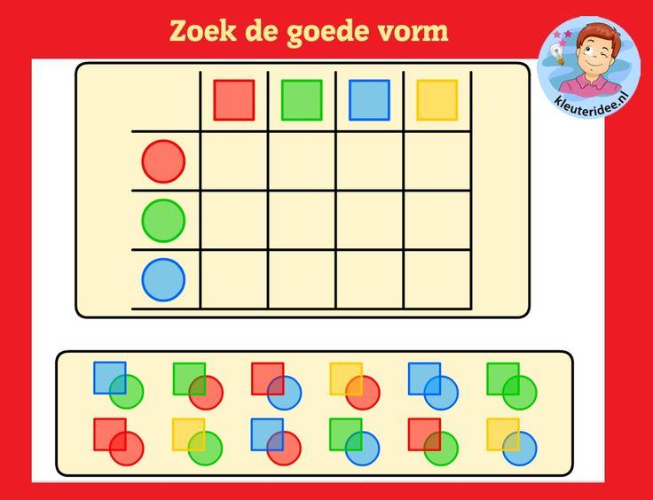 Vormenmatrix 4 met kleuters op digibord of computer op kleuteridee, Kindergarten math game for IBW or computer