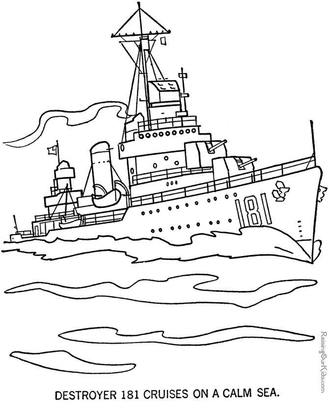 Navy Ship Coloring Page