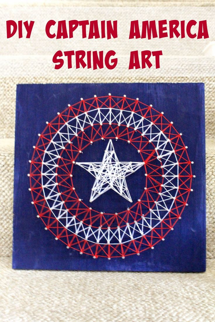 Need some Avengers craft ideas? How about creating a simple DIY Captain America String Art #FandangoFamily #ad