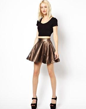 Изображение 1 из Короткая расклешенная юбка цвета металлик Beloved Pixie
