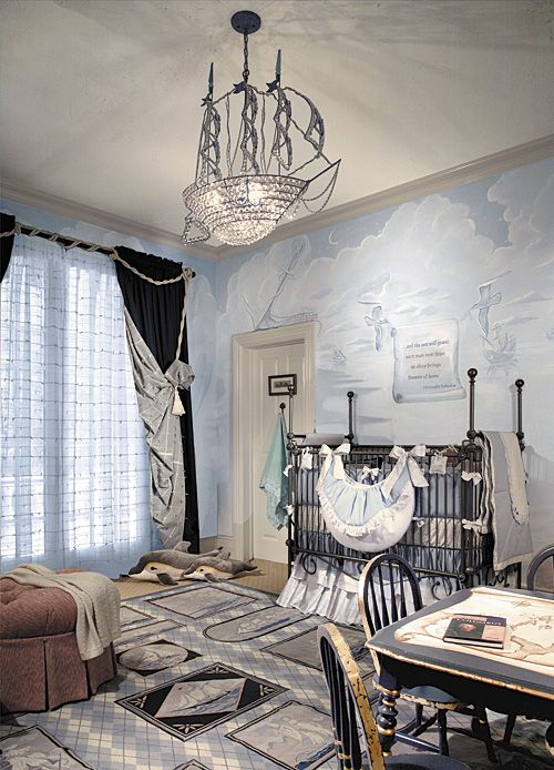 Columbus themed boy's nursery - LOVE the custom crystal ship chandelier