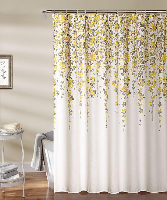 Yellow U0026 Gray Weeping Flower Shower Curtain