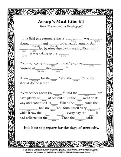 Aesop's Fables Mad Libs Printable Activity