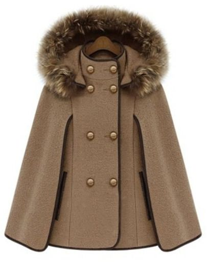 Camel Detachable Fur Lined Hood Contrast Trims Cape