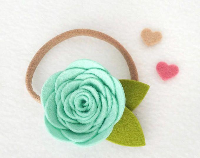 Mint Felt Flower Headband, perfect as a newborn photo prop!