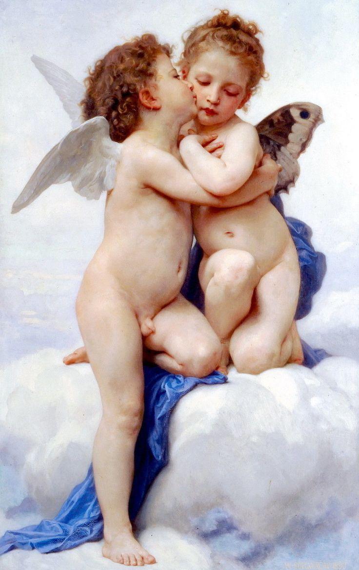 Nude Cupid Young Male Eros Kissing Goddess Psyche Greek Myth Love God