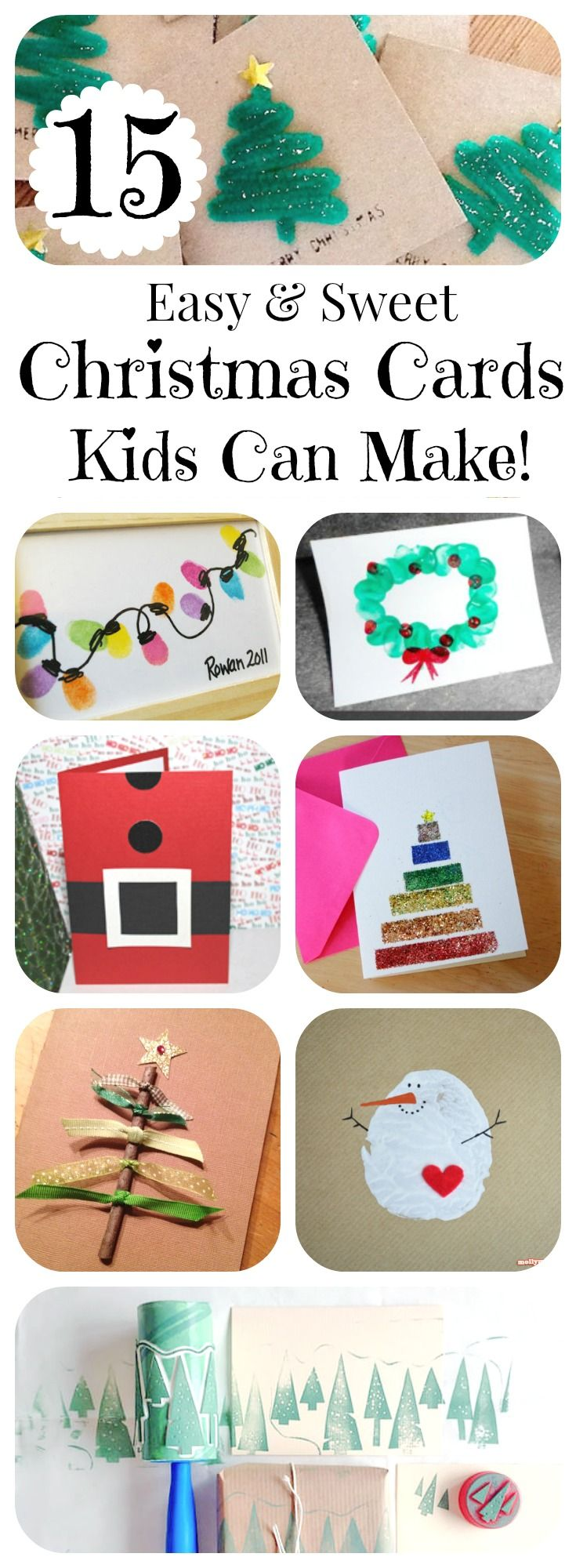 15 Christmas Cards Kids Can Make! || Letters from Santa Holiday Blog! Ideas sencillas y originales que ayudarán a los niños a desarrollar su propia creatividad #PostalesNavidad #ChristmasCard