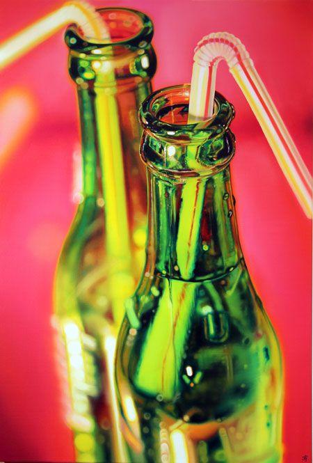 Two Green Bottles (Oil Painting) -- Sarah Graham