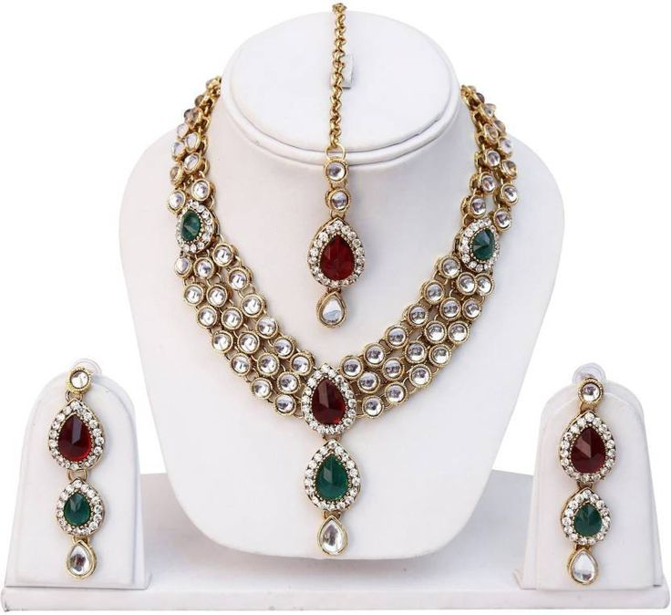 Stunning Indian Bollywood Red & Green Stone Wedding Women Neckace Jewelry Set #natural_gems15 #GoldPlated