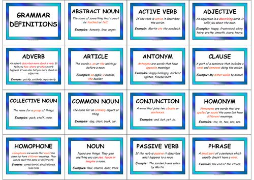 Grammar Definition Display Pack