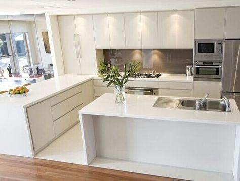 """a """"COLD"""" kitchen Pendants over island bench, timbre bar stools, change splash back, more texture, remove some cupboard doors to create open cabinetry or replace with glass for display. Change drawer handles ? leather"""