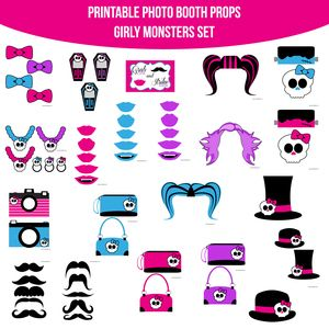 Monster High Girly Monster Halloween Party Printable Photo Booth