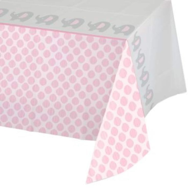 """Pack of 6 Little Peanut Girl Pink Damask Bordered Baby Shower Tablecloths 54"""" x 102"""", Gray"""