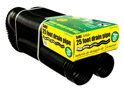 Flex-Drain 50110 Flexible/Expandable Landscaping Drain Pipe, Solid, 4-Inch by 25-Foot