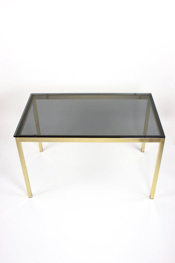 Vintage Coffee Table Beistelltisch Tisch Wohnzimmertisch Couchtisch Rauchglas Messing Mid Century Int Coffee Table Vintage Living Room Table Coffee Table