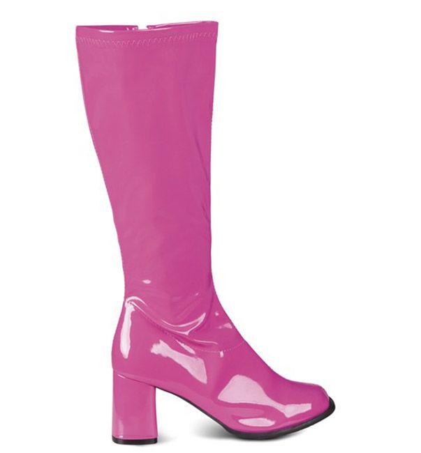 Botas rosas brillantes mujer: Estas botas brillantes son de imitación de vinilo de color rosa. El tacón mide 8 cm y se pueden poner fácilmente gracias a una cremallera en la parte interior del pie. Este...
