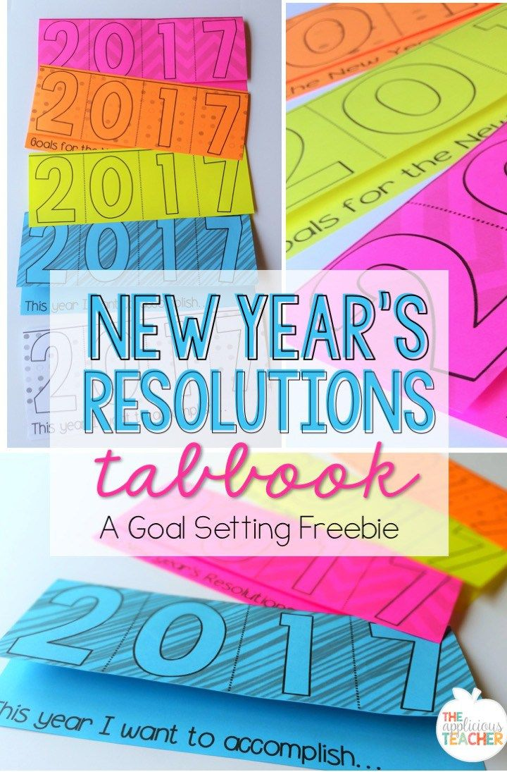 New Year's Resolutions's Tab Book- Such an easy and fun activity for the first of the year. Have students write down their academic or personal goals and hang up in the classroom. Refer to them as the year progresses.