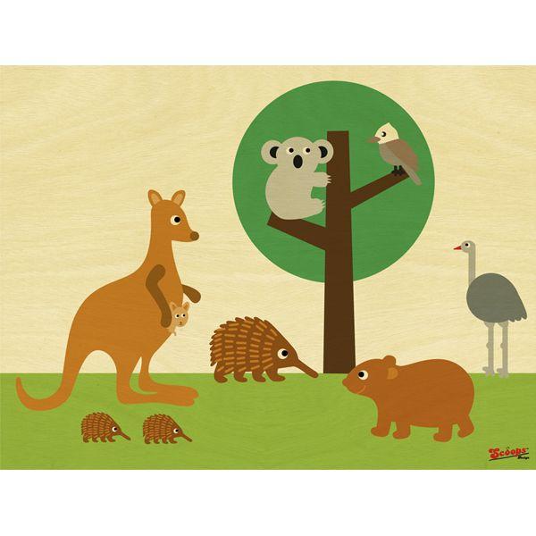 Australian bush friends wooden print