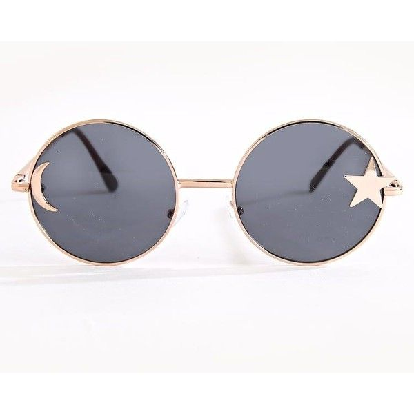 Star And Moon Circle Sunglasses (79.130 IDR) ❤ liked on Polyvore featuring accessories, eyewear, sunglasses, star glasses, star sunglasses, plastic sunglasses, star eyewear and metal frame glasses