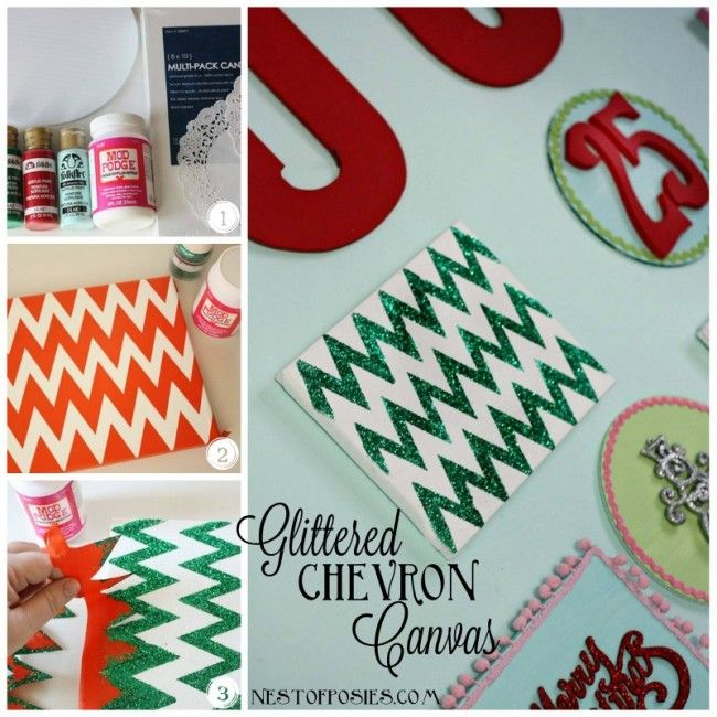make a glittered chevron canvas from @cheryl ng Tidymom