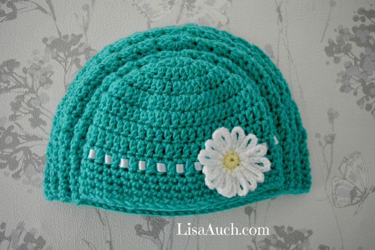 Free Crochet Flower Patterns For Baby Hats : Free Crochet Baby Hat Pattern with Crochet Flower ALL ...