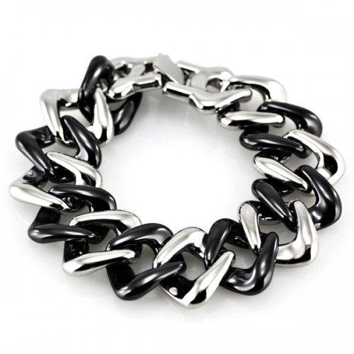 Ocelový Náramek - Černá Keramika / Steel / Ceramics Black (6430) WEBSHOP: http://www.ocelovesperky4u.cz/ocelove-naramky/naramek-sne-6430-steel-ceramic-black