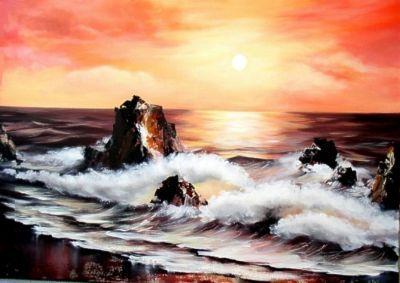 Kunstdruck mit dem unverwechselbaren Motiv einer Brandung. Idyllische Küstenszene bei Sonnenuntergang