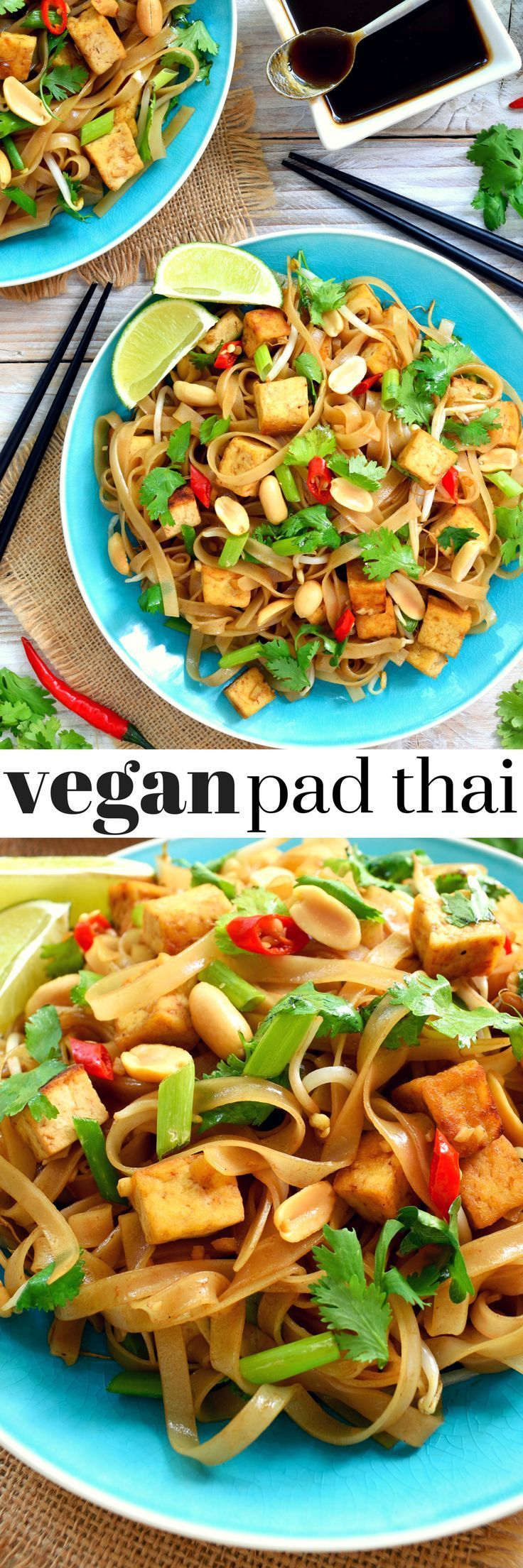 Vegan pad thai with tofu, bean sprouts and herbs. A delicious sweet, sour, savory main dish for lunch or dinner. Make your own pad thai sauce with vegan fish sauce to be sure it's totally vegetarian-friendly!