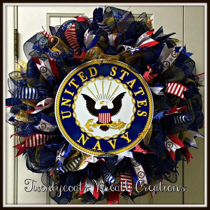 Military Ball Decorations: Anchors Away! US Navy Deco Mesh And Burlap Wreath With