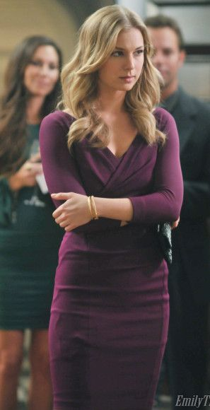 Emily's purple 3/4 sleeve wrap style dress on Revenge.  Outfit Details: http://wornontv.net/13161/ #Revenge